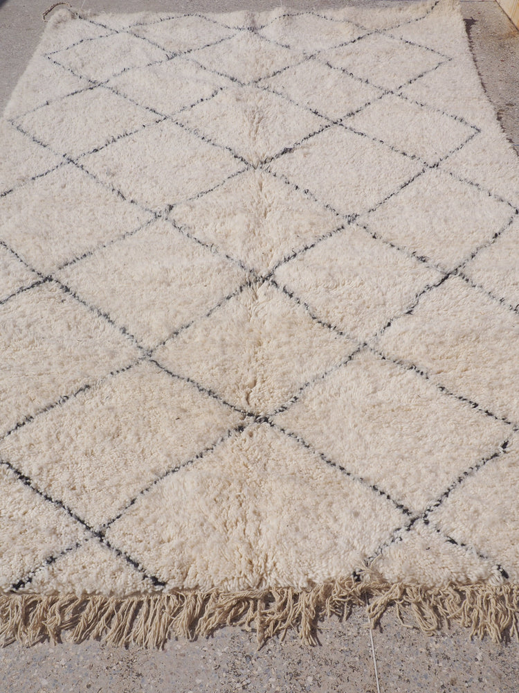 Beni Ourain Carpet - 300x200cm - Medium Triangles - Ines - Natural Wool - 2478 - Carpets - THE PEOPLE OF SAND