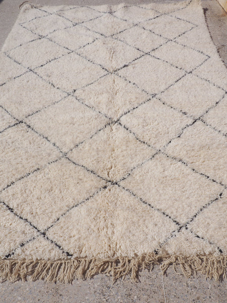 Beni Ourain Carpet - 300x200cm - Medium Triangles - Ines - Natural Wool - 2478