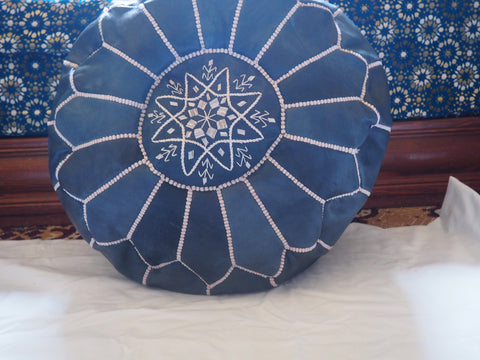 Moroccan Leather Poufs Blue Night Filled