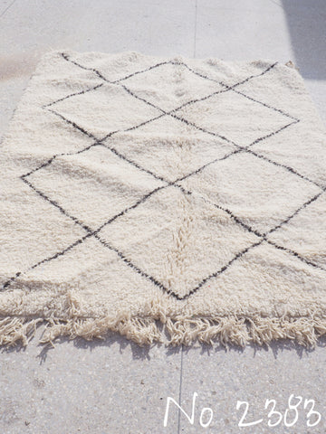 Beni Ourain Tribal Carpet - 205 x 162 cm - Jeradat - Natural Wool - 2383