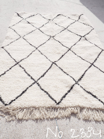 Beni Ourain Tribal Carpet - 225 x 152 cm - Khemisset - Natural Wool - 2384