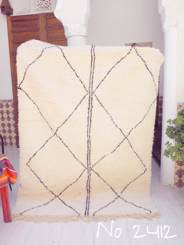 Beni Ourain Tribal Carpet - 220 x 160 cm - Qistina - Natural Wool - 2412