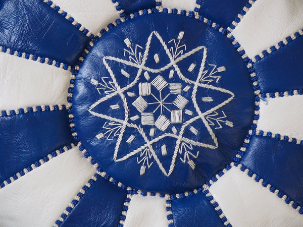 Moroccan Leather Poufs White & Blue Filled