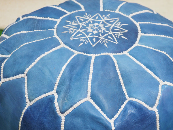 Moroccan Leather Pouffe Blue Sky