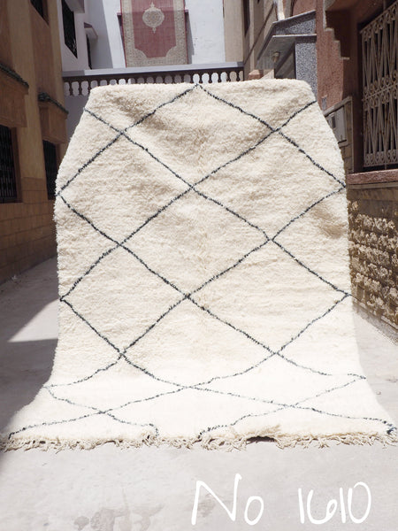 Beni Ourain Carpet -295x190cm - Diamonds - MAYSA - Natural Wool - 1610