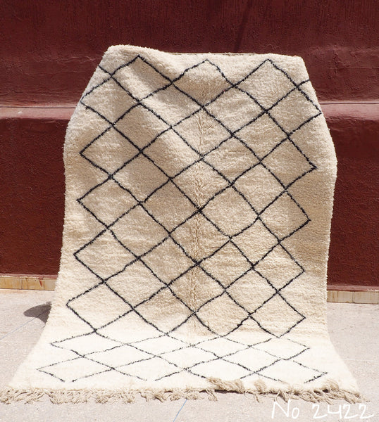 Beni Ourain Tribal Carpet - 275 x 190 cm - Driss - Natural Wool - 2422