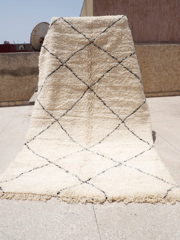 Beni Ourain Carpet - 310x200cm - Large Triangles - Yassine - Natural Wool - 2475