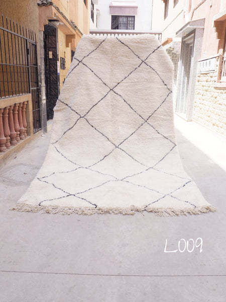 Beni Ourain Carpet - 350x200cm - Diamonds - RIAD - Natural Wool - L009
