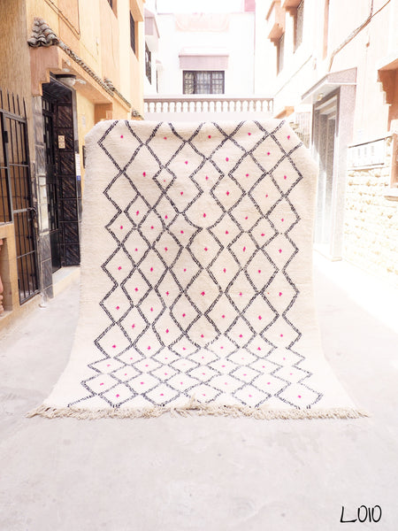 Beni Ourain Carpet - 288x197cm - Diamonds - SOUAD - Natural Wool - L010 - Carpets - THE PEOPLE OF SAND