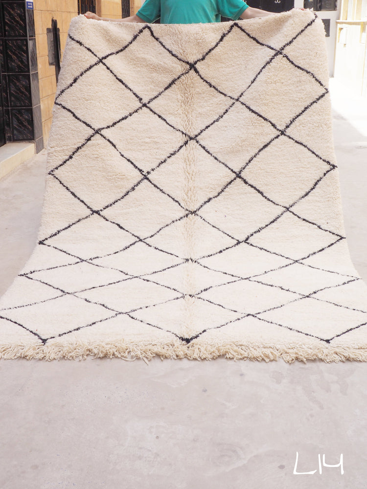 Beni Ourain Carpet - 260x170cm - Diamonds - WARDA - Natural Wool - L14 - Carpets - THE PEOPLE OF SAND