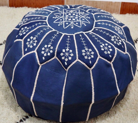 Moroccan Leather Poufs Embroidery Blue Filled