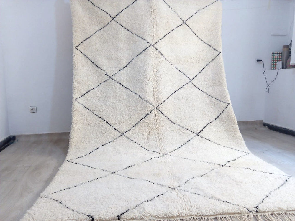 Beni Ourain Carpet - 300x210cm - 3-Seat Sofa - Natural Wool - SHAW9