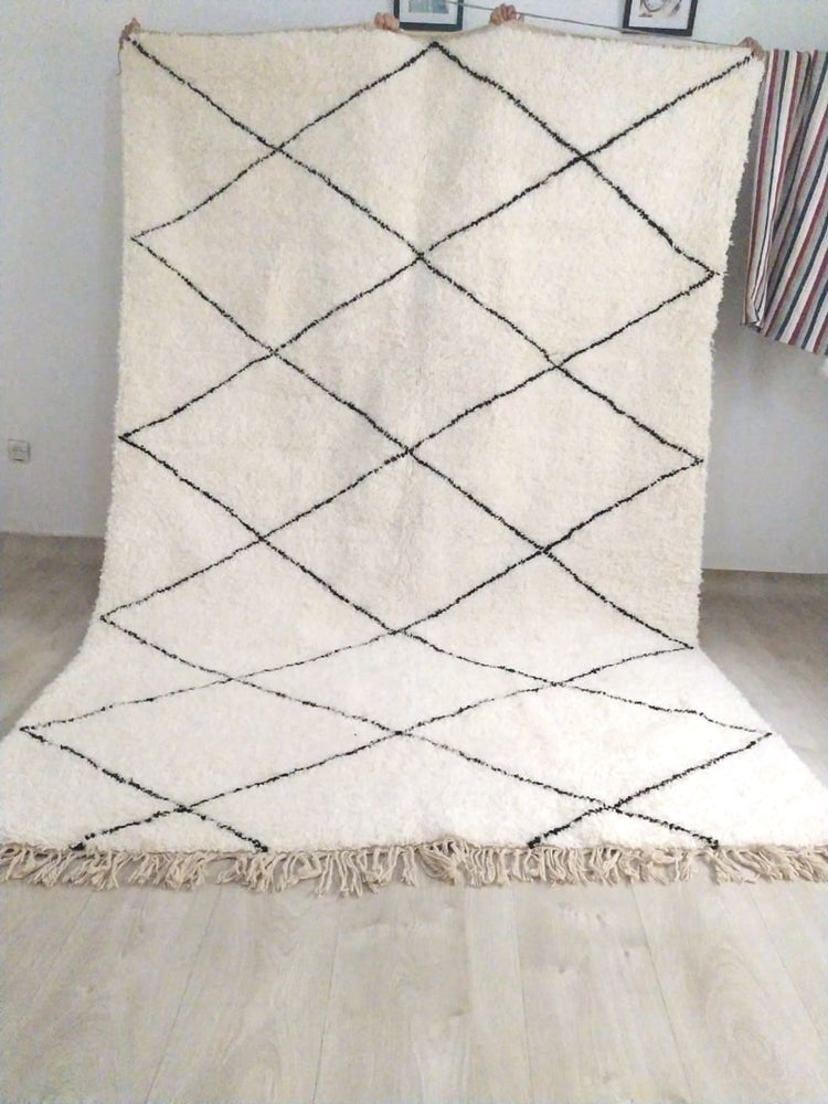 Beni Ourain Carpet - 315x210cm - 3-Seat Sofa - Natural Wool - JUIL12
