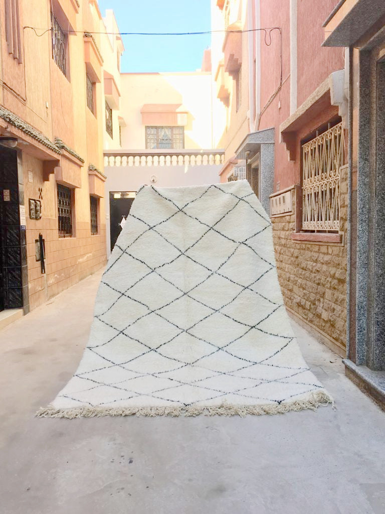 Beni Ourain Carpet - 310x210cm - Hamna - Natural Wool - X02 - Carpets - THE PEOPLE OF SAND