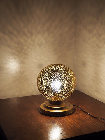 Engraved Brass Round Table Lamp Large