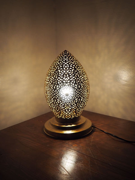 Engraved Brass Twisted Table Lamp Morocco