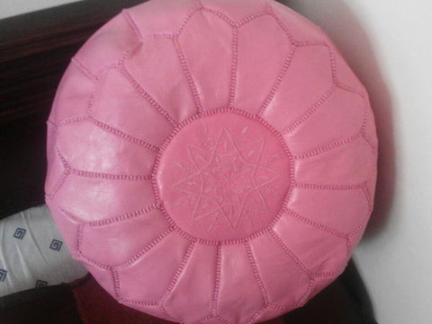 Moroccan Leather Pouffe Rose
