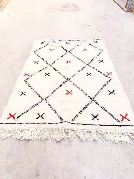Beni Ourain Carpet - 225x147cm - Tribal - ANISAH - Natural Wool - 2494 - KIDS ROOM FAVORITE