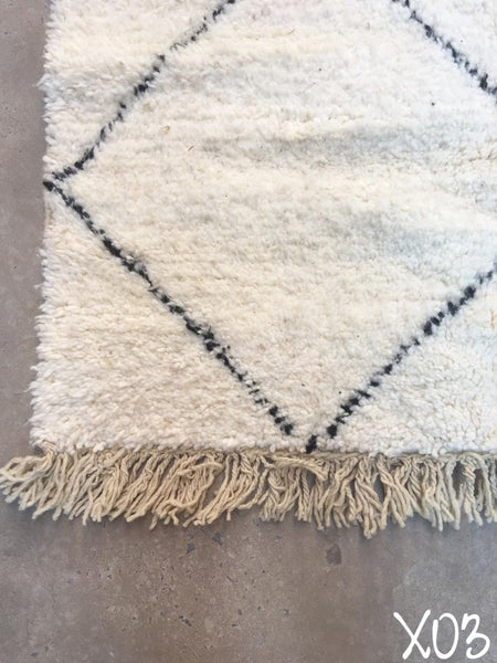Beni Ourain Carpet - 260x140cm - Sanad - Natural Wool - X03