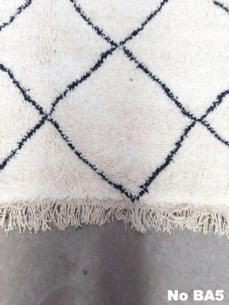 Beni Ourain Carpet - 240x162cm - ABEER - Natural Wool - BA5 - Carpets - THE PEOPLE OF SAND