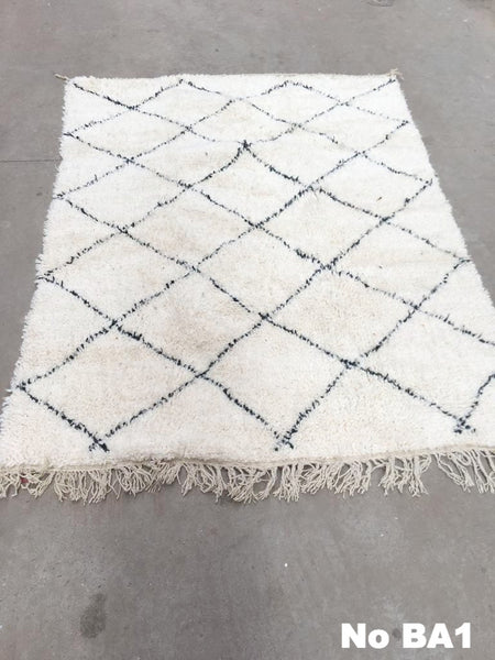 Beni Ourain Carpet - 195x142cm - AMALIA - Natural Wool - BA1