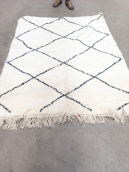 Beni Ourain Carpet - 198x150cm - KAWLA - Natural Wool - BA2