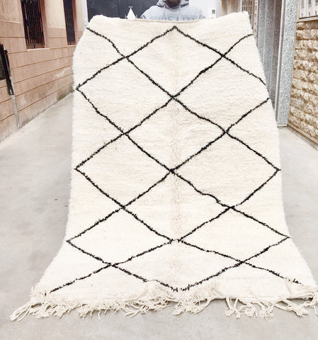 Beni Ourain Carpet - 248x154cm - SAFIYA - Natural Wool - BA3