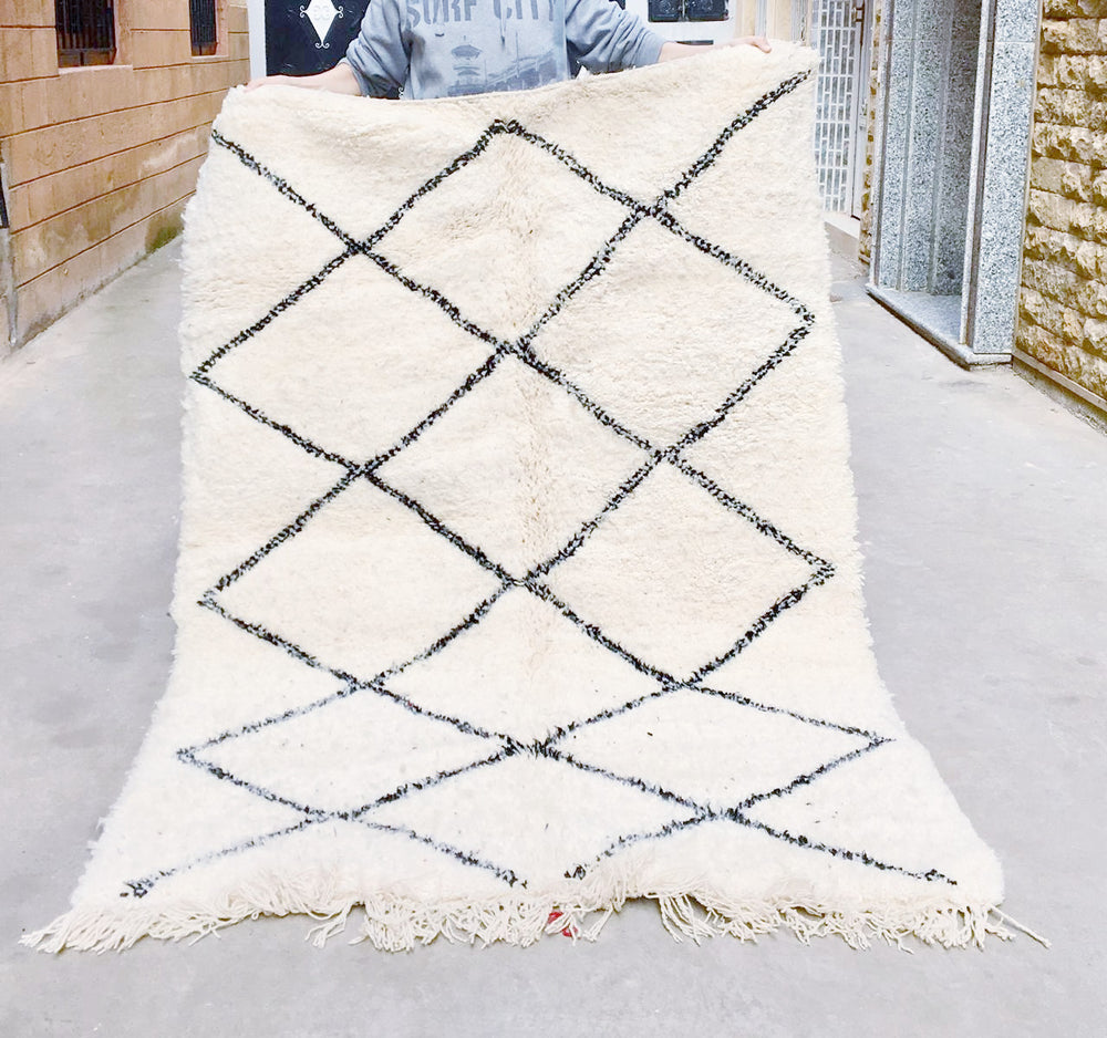 Beni Ourain Carpet - 216x145cm - SHUMAILA - Natural Wool - BA7 - Carpets - THE PEOPLE OF SAND
