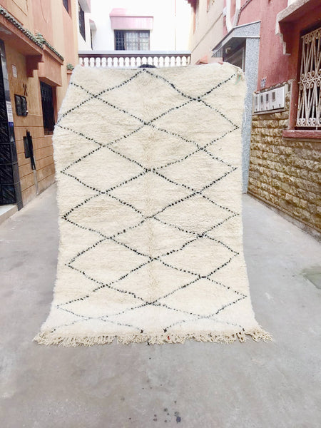 Beni Ourain Carpet - 215x145cm - AZRA - Natural Wool - BA9 - Carpets - THE PEOPLE OF SAND