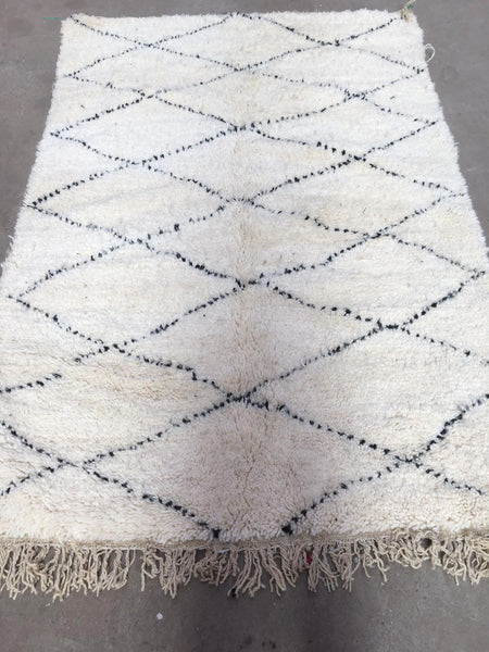 Beni Ourain Carpet - 215x145cm - AZRA - Natural Wool - BA9
