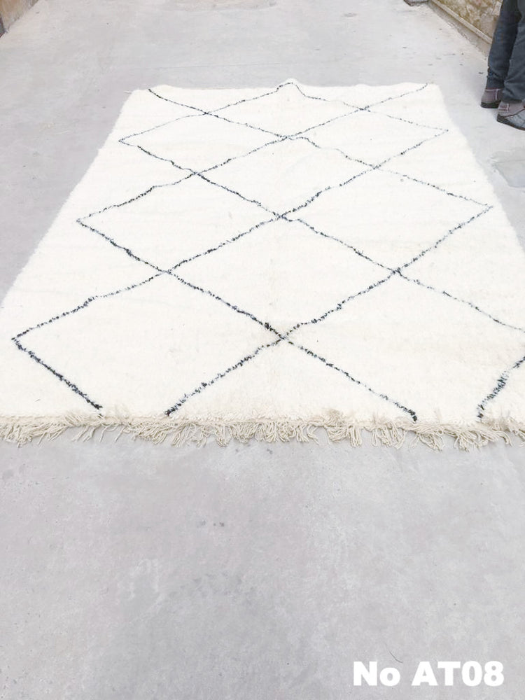 Beni Ourain Carpet - 307x200cm - SAMIYAH- Natural Wool - AT08 - Carpets - THE PEOPLE OF SAND