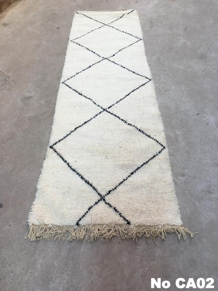 Load image into Gallery viewer, Beni Ourain Carpet -310x85cm (Runner Size) - ZIZ - Natural Wool - CA02 - Carpets - THE PEOPLE OF SAND