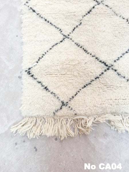 Beni Ourain Carpet -240x80cm (Runner Size) - MASSA - Natural Wool - CA04 - Carpets - THE PEOPLE OF SAND