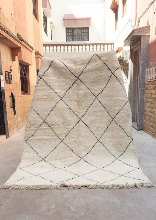 Beni Ourain Carpet - 295x200cm - BUCHRA - Natural Wool - RD04 - Carpets - THE PEOPLE OF SAND