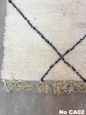 Beni Ourain Carpet -310x85cm (Runner Size) - ZIZ - Natural Wool - CA02 - Carpets - THE PEOPLE OF SAND