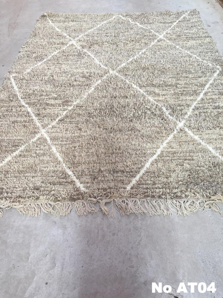 Beni Ourain Carpet - 305x212cm - AHMED - Natural Wool - AT04
