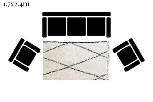 Load image into Gallery viewer, Beni Ourain Carpet - 230x150cm- 3-Seat Sofa - CEIN - Natural Wool - MD05