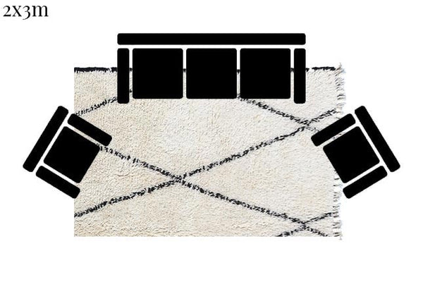 Beni Ourain Carpet - 310x196m 3-Seat Sofa - KSABI - Natural Wool - OR7 - Carpets - THE PEOPLE OF SAND
