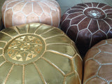 Moroccan Faux Leather Poufs Gold