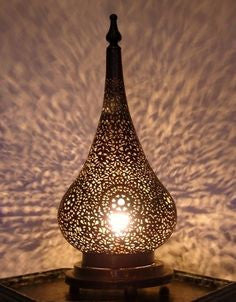 Engraved Brass Tear Drop Table Lamp Large
