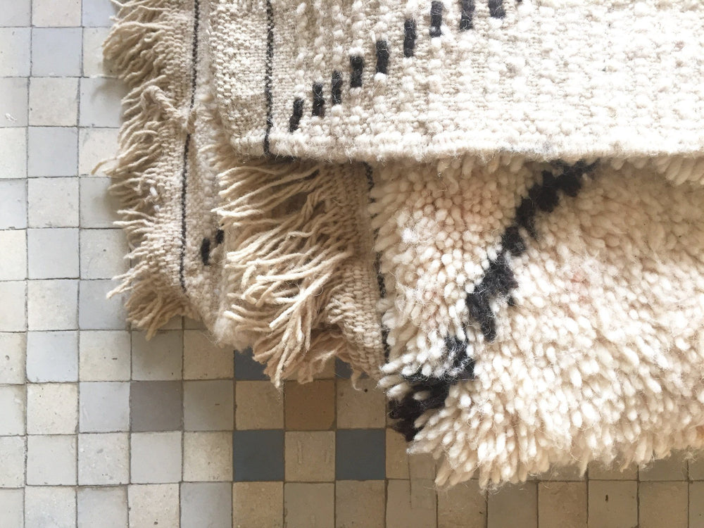 Beni Ourain Carpet - 208x131cm - MIRA - Natural Wool - BA8 - Carpets - THE PEOPLE OF SAND