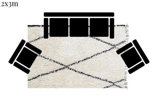 Beni Ourain Carpet - 315x200cm 3-Seat Sofa - AYAT - Natural Wool - RD02 - Carpets - THE PEOPLE OF SAND