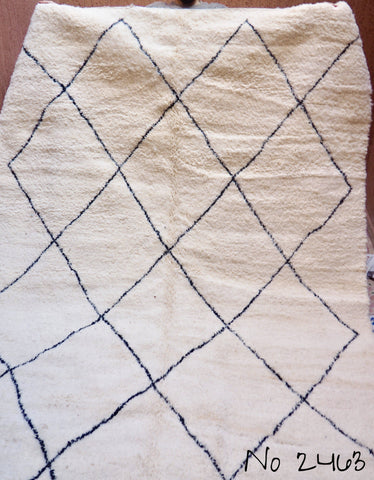 Beni Ourain Carpet - 323x206cm - Large Triangles - Ayoub - Natural Wool - 2463