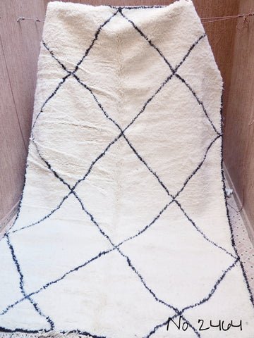 Beni Ourain Carpet - 327x199cm - Large Triangles - Framed - Azzam - Natural Wool - 2464