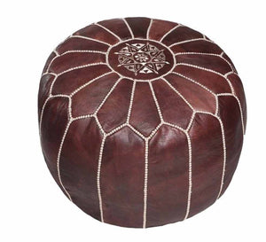 Moroccan Leather Poufs Chocolate Brown
