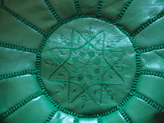 Moroccan Leather Pouffe Emerald Green