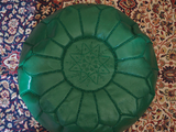 Moroccan Leather Pouffe Emerald Green Filled
