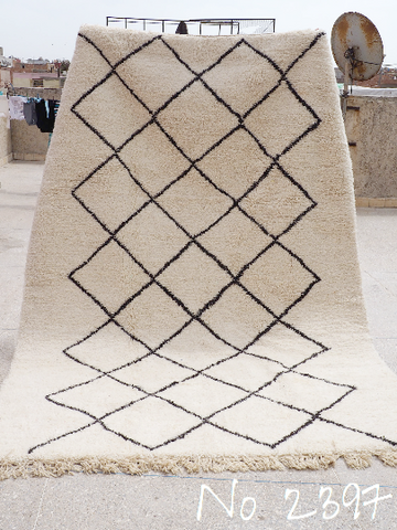 Beni Ourain Tribal Carpet - 300 x 200 cm - Temara - Natural Wool - 2397
