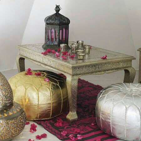 Moroccan Faux Leather Poufs Silver