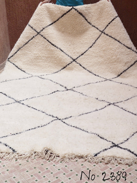 Beni Ourain Tribal Carpet - 300 x 207 cm - Lila - Natural Wool - 2389